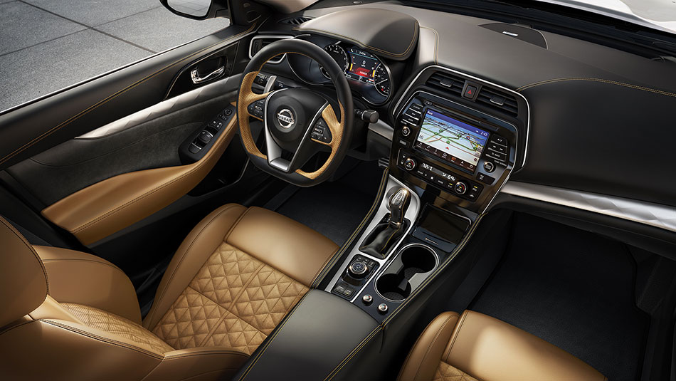 2016-nissan-maxima-interior-seating-camel-leather-aerial-view