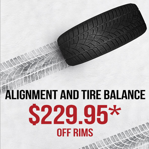 Alignment/Tire Balance incl. Seasonal Swap (off rims*)