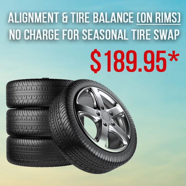 Alignment & Tire Balance incl. Tire Swap (on rims)